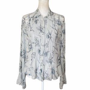 Vintage 100% Silk Smock Front Floral Print blouse